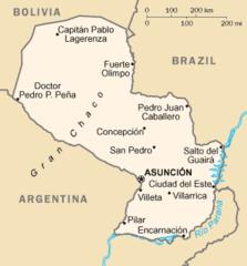Mapa Paragwaju