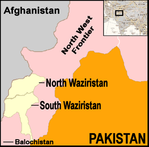 Map showing location of North and South Waziri...