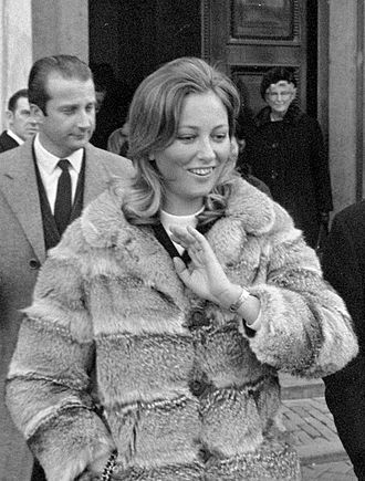 Queen Paola of Belgium - Paola in 1969, with Albert behind her