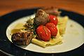Pappardelle med stegte tomater og kalvepølser (8179440876).jpg
