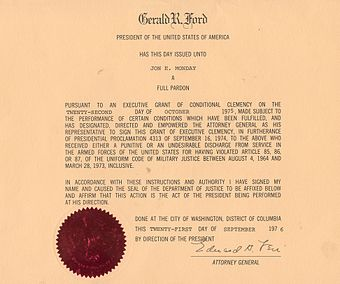 Pardon given by President Ford under Proclamation 4313 Pardon4313.jpg