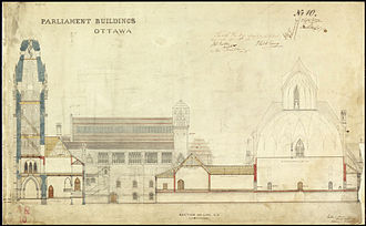 Library of Parliament - A drafted architectural section of the original Centre Block, showing the Victoria Tower at the far left, and the Library of Parliament to the right