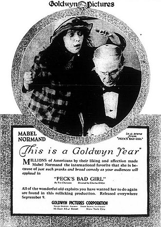Edward M. Favor - Ad for Peck's Bad Girl (1918) with Mabel Normand and Edward M. Favor