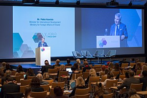 Non-governmental organization -  H.E. Pekka Haavisto, Minister for International Development of the Ministry for Foreign Affairs in Finland at the first World NGO Day, Helsinki, Finland in 2014