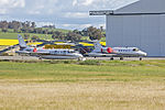 Pel-Air (VH-AJJ) IAI Westwind 1124 and (VH-SLF) Learjet 36A parked at Wagga Wagga Airport.jpg