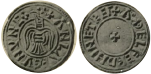 Amlaíb Cuarán - A second style of penny from York from Amlaíb's time, moneyer Æthelfrith, the obverse shows a bird, presumed to be a Raven, the reverse a cross.