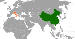 Map indicating locations of People's Republic of China and Italy