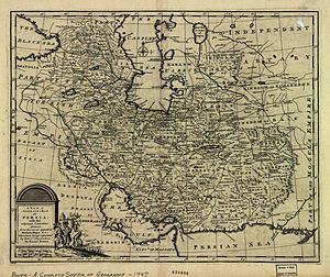 Mashhad - The map of the Persian Empire in 1747 at the time of Afsharid Dynasty. The name of Mashhad is seen belong Tous