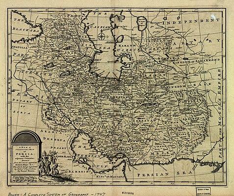 Map of Iran in Afsharid dynasty drawn by Emanuel Bowen in 1747