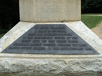 Peter Francisco - Monument to Francisco, Guilford Courthouse National Military Park