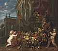 Peter Ykens and Jan Pauwel Gillemans - An architectural capriccio with putti around a swag of fruit, with a parrot and guineau pig.jpg