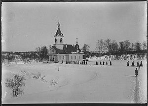 Pechenga Monastery - The church of Pechenga Monastery, c. 1911 (photo by Ellisif Wessel), and, below, in the 1940s.