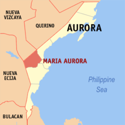 Map of Aurora showing the location of Maria Aurora