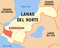 Map of Lanao del Norte with Kapatagan highlighted