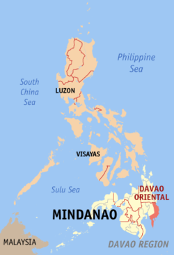 Map of the Philippines with Davao Oriental highlighted