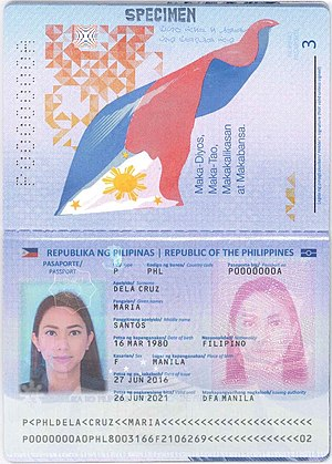 Philippine passport - The data page of biometric passports issued after August 15, 2016. Note the signature field on page 3, in contrast to previous biometric passports.