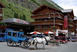 Zermatt railway station - The station forecourt.