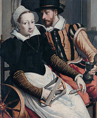 Man and Woman at a Spinning Wheel