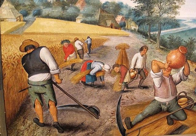 Bændur taka inn uppskeruna, eftir flæmska listamanninn crops, by Pieter Brueghel, 17. öld