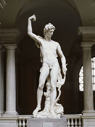 Python (mythology) - Sculpture by Pietro Francavilla of Apollo's first triumph, when he slew with his bow and arrows the serpent Python, which lies dead at his feet. The Walters Art Museum.