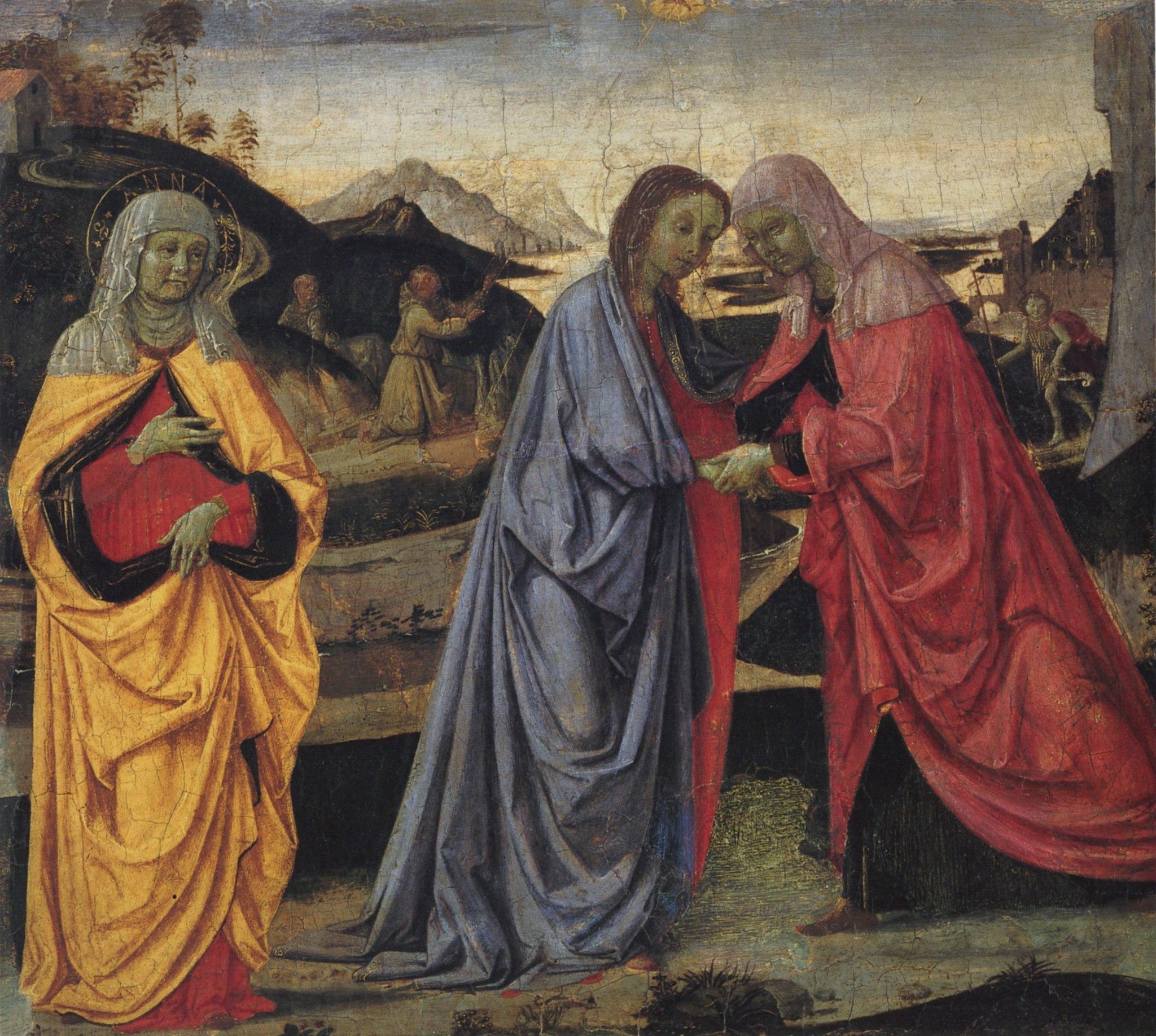 Pietro Perugino, La Visitazione con Sant'Anna, San Giovannino e le Stimmate di San Francesco, 1470 circa-73