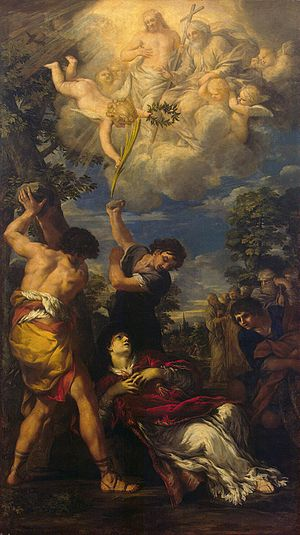 Session of Christ - Pietro da Cortona, Stoning of Saint Stephen, 1660. Acts 7:55 says that, as he was dying, Saint Stephen saw Jesus standing at the right hand of God.