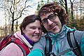 Pink human and her adventure buddy taking a selfie in High Fens, Eupen (VeloTour intersection 84, DSCF3699.jpg