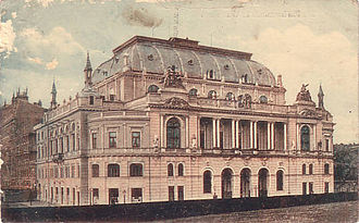 Warsaw National Philharmonic Orchestra - Warsaw Philharmonic Hall in 1918. The building was completely destroyed in a German air raid on Warsaw in 1939. A new concert hall was built after the war in a popular style.