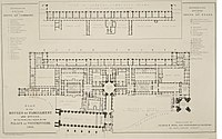 Architectural plans of the Palace of Westminster, drawn up by Charles Barry. The plans show a long, asymmetrical building. Westminster Hall is shown as part of the image, sitting off the perpendicular to the rest of the building