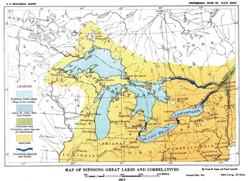 File:Plate 27 - Glacial Lake Nipissing and its Correlatives (USGS 1915) or 1917 Nipissing Great Lakes & correletives.JPG