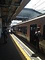"Platform of Nishitetsu-Futsukaichi Station and retro train ""Tabito"".jpg"