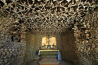 Skull Chapel, Czermna - The interior, featuring human bones and remains on walls and ceiling