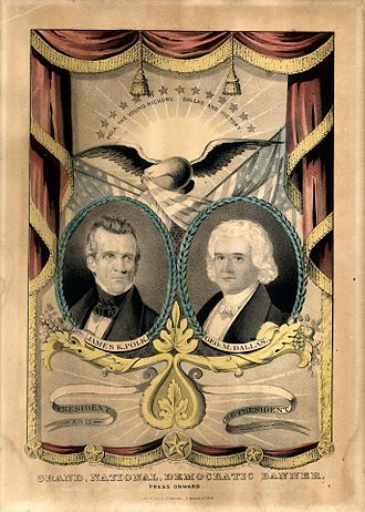 James K. Polk - 1844 campaign banner, produced by Nathaniel Currier