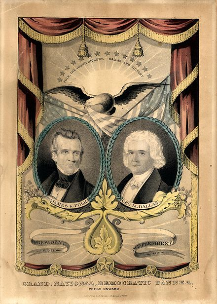 1844 campaign banner for the Polk/Dallas ticket, produced by Nathaniel Currier Polk Dallas campaign banner.jpg
