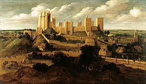 Pontefract Castle - Painting of Pontefract Castle in the early 17th century, by Alexander Keirincx
