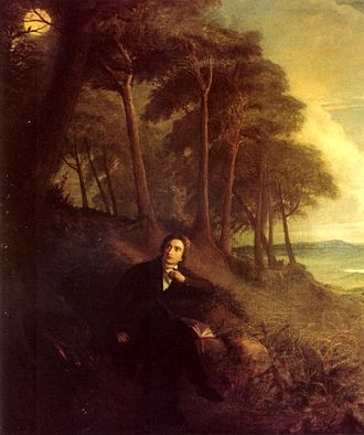 Ode to a Nightingale - Joseph Severn's depiction of Keats listening to the nightingale (c. 1845)