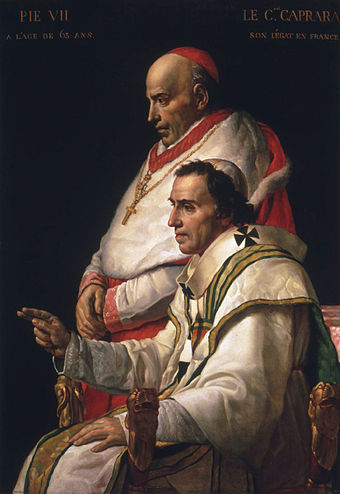 Pope Pius VII, bishop of Rome, seated, and Cardinal Caprara. 433px-Pope Pius VII.jpg