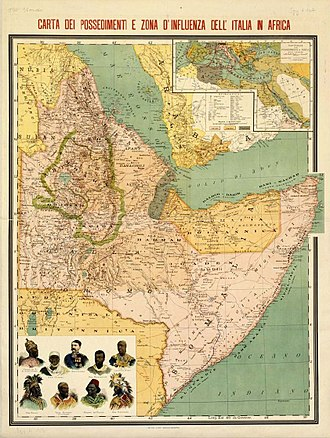 Italian Empire - Italian possessions and sphere of influence in the Horn of Africa in 1896.