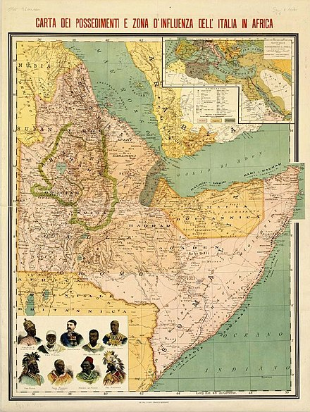 Italian possessions and sphere of influence in the Horn of Africa in 1896. Possessions italiennes en Afrique-1896.jpg