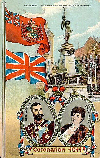 Flag of Canada - A Canadian postcard marking the coronation of King George V and Queen Mary in 1911, showing the Royal Union Flag (lower) and a version of the Red Ensign with a crowned composite shield of Canada (unapproved by the sovereign) in the fly