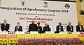 Pranab Mukherjee at the inauguration of the World Congress on Agroforestry- 2014 and presentation of Krishi Karman Awards 2012-13, in New Delhi. The Union Minister for Agriculture and Food Processing Industries.jpg