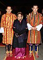 Pratibha Devisingh Patil with the 5th King of Bhutan, HM Jigme Khesar Namgyel Wangchuck and the 4th King of Bhutan, HM Jigme Singye Wangchuck at a Royal Banquet, at the Taschichhodzong, in Thimphu, Bhutan.jpg