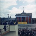 President's Trip to Europe- President on platform overlooking Brandenburg Gate. President Kennedy, others in party... - NARA - 194225.tif