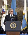 President George W. Bush offers praise of outgoing Secretary of Defense Donald H. Rumsfeld during Pentagon farewell ceremonies 061215-D-WQ296-069.jpg