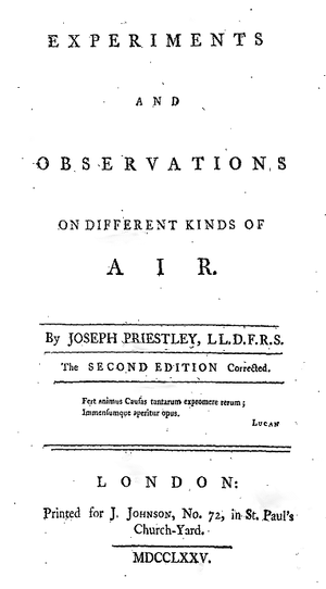Experiments and Observations on Different Kinds of Air - Title page from Experiments and Observations