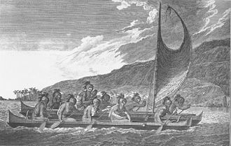 Ancient Hawaii - Priests traveling across Kealakekua Bay for first contact rituals. Each helmet is a gourd, with foliage and tapa strip decoration. A feather-surrounded akua is in the arms of the priest at the center of the engraving.