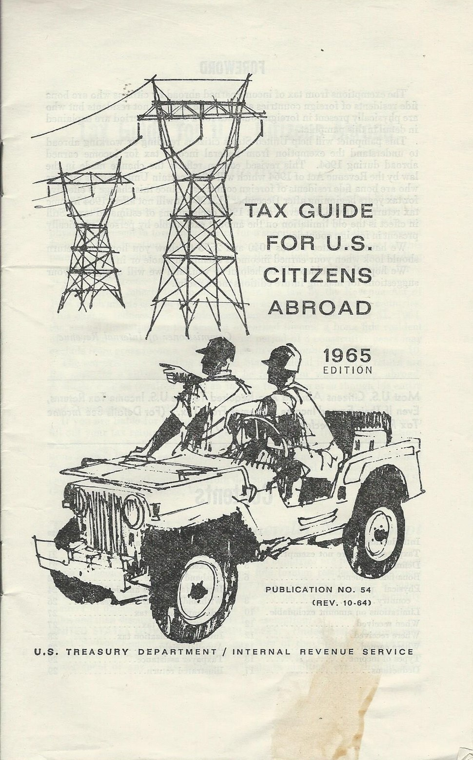 Publication 54 Tax Guide for US Citizens Living Abroad, 1965