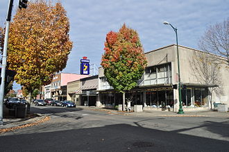Puyallup, Washington - East side of 100 block of S. Meridian; in foreground, an antique shop in a former J.C. Penney.