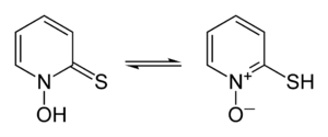 Hydroxyl radical - Skeletal formulae of 1-hydroxy-2(1H)-pyridinethione and its tautomer