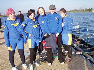 Queen Mary University of London Boat Club - A crew wearing the club colours